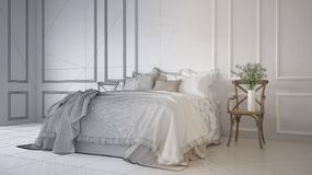 Unfinished project draft of vintage classic bedroom with soft bed full of pillows and blankets, white molded wall, wooden side stock illustration