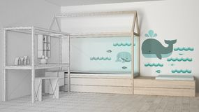Unfinished project draft of wooden and turquoise children bedroom with single bed and desk, minimalist architecture interior royalty free illustration