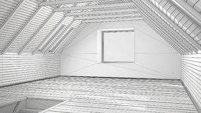 Unfinished project of empty room, loft, attic, parquet wooden fl. Oor and wooden ceiling beams, architecture interior design Stock Photo