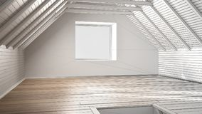 Unfinished project of empty room, loft, attic, parquet wooden fl. Oor and wooden ceiling beams, architecture interior design Royalty Free Stock Image