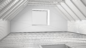 Unfinished project of empty room, loft, attic, parquet wooden fl. Oor and wooden ceiling beams, architecture interior design Royalty Free Stock Images