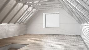 Unfinished project of empty room, loft, attic, parquet wooden fl. Oor and wooden ceiling beams, architecture interior design Stock Images