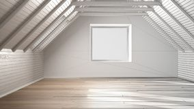 Unfinished project of empty room, loft, attic, parquet wooden fl. Oor and wooden ceiling beams, architecture interior design Royalty Free Stock Photos
