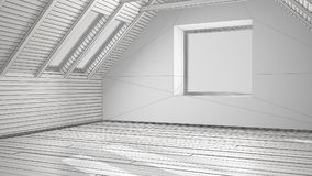 Unfinished project of empty room, loft, attic, parquet wooden fl. Oor and wooden ceiling beams, architecture interior design Stock Photography