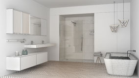 Unfinished project of minimalist bright bathroom with double sin royalty free illustration