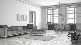 Unfinished project of minimalist living room, sketch abstract in. Terior Royalty Free Stock Photo