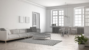 Unfinished project of minimalist living room, sketch abstract in. Terior design Stock Photography