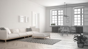 Unfinished project of minimalist living room, sketch abstract in. Terior design Royalty Free Stock Image