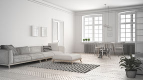 Unfinished project of minimalist living room, sketch abstract in. Terior design Stock Image