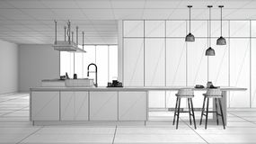 Unfinished project of minimalist luxury expensive kitchen, island, sink and gas hob, open space, ceramic floor, modern interior stock illustration
