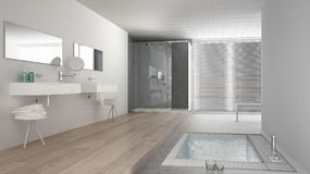 Unfinished project of minimalist white and gray bathroom vector illustration