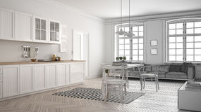 Unfinished project of minimalist white kitchen, sketch abstract Royalty Free Stock Photos