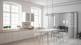 Unfinished project of minimalist white kitchen, sketch abstract royalty free illustration