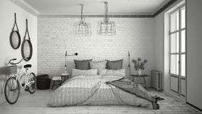 Unfinished project of modern bedroom with cozy double bed and br Royalty Free Stock Image