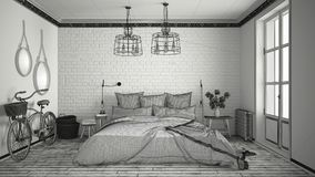Unfinished project of modern bedroom with cozy double bed and br Royalty Free Stock Photos