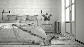 Unfinished project of modern bedroom with cozy double bed and br Royalty Free Stock Photography
