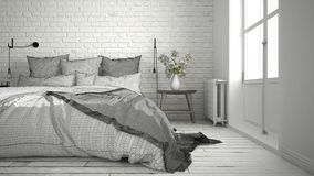 Unfinished project of modern bedroom with cozy double bed and br Royalty Free Stock Images