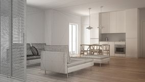 Unfinished project of modern clean living room with kitchen and dining table, sofa, pouf and chaise longue, minimal interior. Design stock image