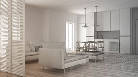Unfinished project of modern clean living room with kitchen and dining table, sofa, pouf and chaise longue, minimal interior. Design stock photography