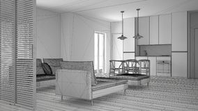 Unfinished project of modern clean living room with kitchen and dining table, sofa, pouf and chaise longue, minimal interior. Design royalty free stock images