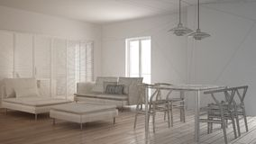 Unfinished project of modern clean living room with sliding door and dining table, sofa, pouf and chaise longue, minimal interior. Design royalty free stock image
