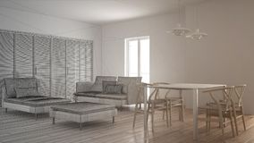 Unfinished project of modern clean living room with sliding door and dining table, sofa, pouf and chaise longue, minimal interior. Design royalty free stock photos