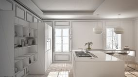 Unfinished project of modern kitchen furniture in classic room,. Old parquet, minimalist architecture interior design Stock Photo