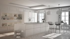 Unfinished project of modern kitchen furniture in classic room,. Old parquet, minimalist architecture interior design Stock Image