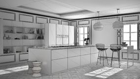 Unfinished project of modern kitchen furniture in classic room,. Old parquet, minimalist architecture interior design Stock Photos