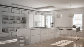 Unfinished project of modern kitchen furniture in classic room,. Old parquet, minimalist architecture interior design Royalty Free Stock Photo