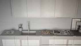Unfinished project of modern kitchen with sink and stove, cookin Stock Photos