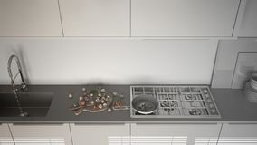 Unfinished project of modern kitchen with sink and stove, cookin Stock Photography