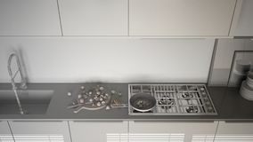 Unfinished project of modern kitchen with sink and stove, cookin Stock Image