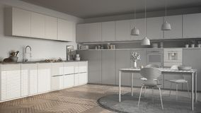 Unfinished project of modern kitchen with table and chairs, herr Stock Photography