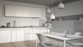 Unfinished project of modern kitchen with table and chairs, herr Royalty Free Stock Photo