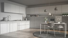 Unfinished project of modern kitchen with table and chairs, herr Stock Photos