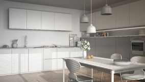 Unfinished project of modern kitchen with table and chairs, herr Stock Image