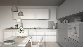 Unfinished project of modern kitchen with table and chairs, herr Stock Photo