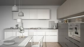 Unfinished project of modern kitchen with table and chairs, herr Royalty Free Stock Images