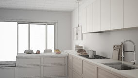 Unfinished project of modern kitchen with wooden details and par Stock Photo