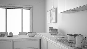 Unfinished project of modern kitchen with wooden details and par Stock Images