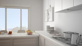 Unfinished project of modern kitchen with wooden details and par Royalty Free Stock Image