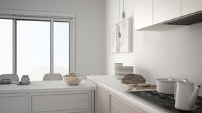 Unfinished project of modern kitchen with wooden details and par Royalty Free Stock Photo