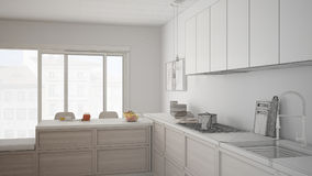 Unfinished project of modern kitchen with wooden details and par Royalty Free Stock Photography