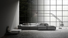 Unfinished project of modern living with sofa, carpet and big wi. Ndow, sketch abstract interior design Royalty Free Stock Image