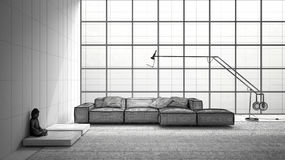 Unfinished project of modern living with sofa, carpet and big wi. Ndow, sketch abstract interior design Royalty Free Stock Photo