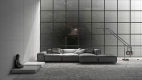 Unfinished project of modern living with sofa, carpet and big wi. Ndow, sketch abstract interior design Royalty Free Stock Photography