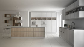 Unfinished project of modern scandinavian kitchen, sketch abstract interior design stock illustration