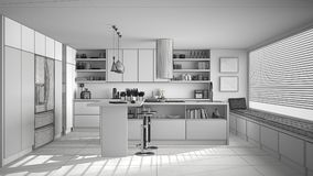 Unfinished project of of modern wooden kitchen with wooden detai. Ls and panoramic window, white minimalistic interior design Stock Photo