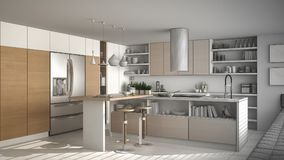 Unfinished project of of modern wooden kitchen with wooden detai. Ls, white minimalistic interior design Stock Photos